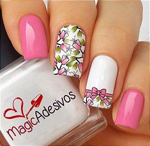 Adesivos de Unha Combinado Floral Rosa com Lacinho - FL146