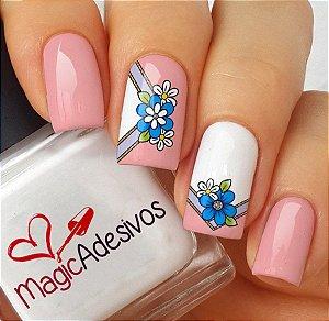 Adesivos de Unha Combinado Floral Azul com Rosa - FL163