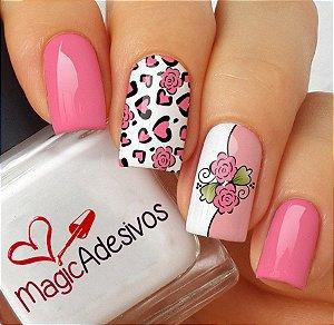 Adesivos de Unha oncinha Rosa com Flor - FL167