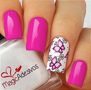 Adesivos de Unha Borboletas Pink - BR55