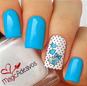 Adesivos de Unha Coração Delicado Azul com Poá - CR40