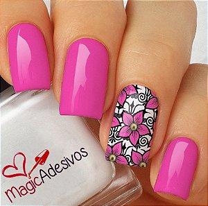 Adesivos de Unha Jardim de Flores Rosas - FL176
