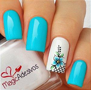 Adesivos de Unha Flor Azul Delicada - FL180