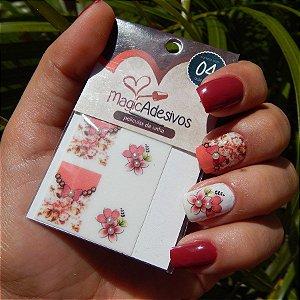 Adesivos de Unha Linha Glamour Floral Retrô com Lacinho - GR13