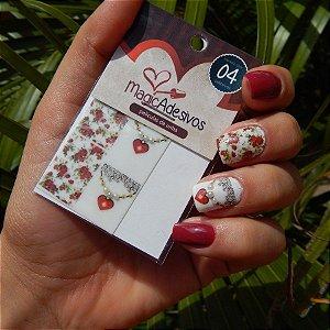 Adesivos de Unha Linha Glamour Floral com Pingente de Coração - GR14