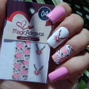Adesivos de Unha Linha Glamour Floral Rosa com Laço - GR15