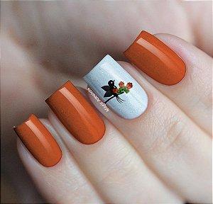 Adesivos de Unha Pássaros com Flores Laranja - FL187