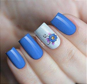 Adesivos de Unha Flor Azul com Tachinha Dourada - GR27