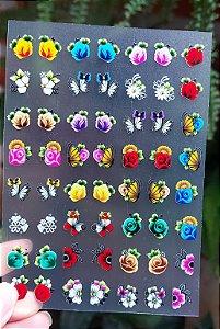 Cartelão 3D - FLORES 06 - 56 Adesivos