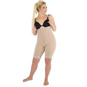 CONFORT - Calça culote cintura alta com perna 1/2 coxa abertura frontal