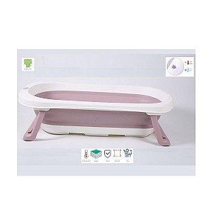 Banheira Pequena Dobrável com Plug Térmico Rosa Baby Pil - BNPR
