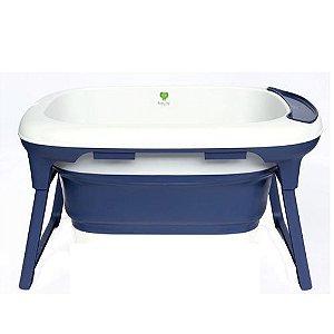 Banheira Media Azul Marinho Dobrável com Plug Térmico Babypil - BNMM