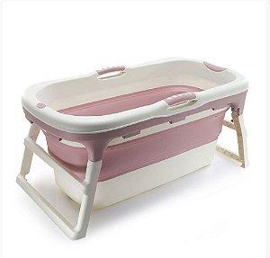 Banheira Grande Adulto Rosa Dobrável com Plug Térmico Babypil - BNGR