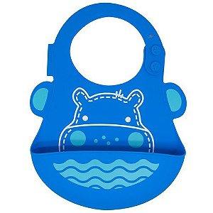Babador Impermeável em Silicone Hipopotamo Azul Marcus Marcus - MNMBB01-HP