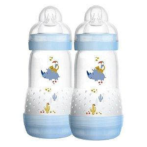 Mamadeira First Bottle / Easy Start Autoesterilizável MAM - 260ml Azul - Embalagem Dupla - 4673RINO