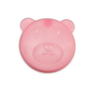 Prato Témico Urso Com  Ventosa E Tampa Rosa - BE1501
