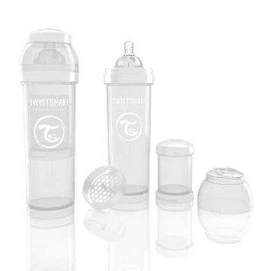 Mamadeira Anticolica All In One Twistshake Cristal 330ml Com Mixer E Porta Leite - 78018