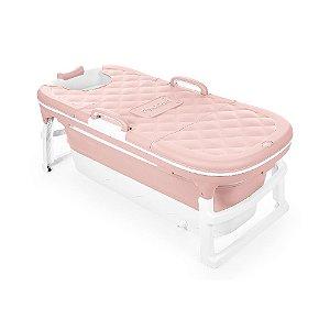 Banheira Extra Grande  Rosa Dobrável Com Plug Térmico Babypil - BNXGR