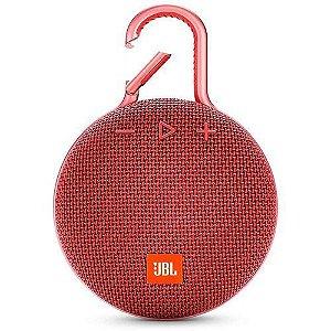 Caixa de Som JBL Clip 3, Bluetooth, À Prova D´Água, 1x3W Vermelha - JBL