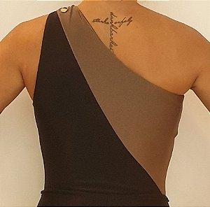 Body Ombro Bicolor Preto