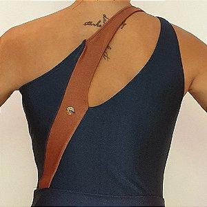 Body Ombro Decote Vazado Azul Noite Bronze