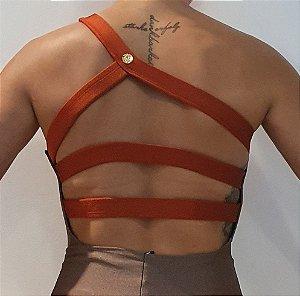 Body Ombro Tiras Amêndoa Terracota