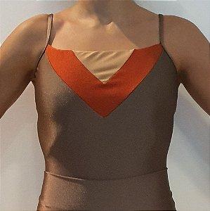Body Triângulo Tricolor Amêndoa
