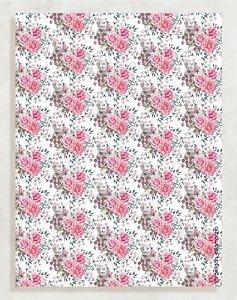 Papel Crepom Floral 13 - Rosa e Cinza - 30 unid