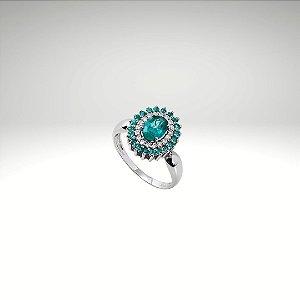 Anel com Esmeralda Oval, Diamantes e Esmeraldas