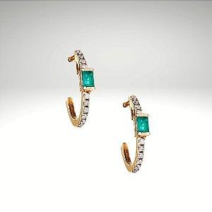 Brinco Esmeralda Baguete e Diamantes