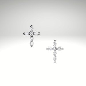 Brinco Cruz de Diamantes 9mm