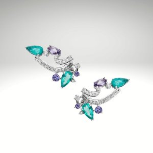 Earcuff de Esmeraldas, Diamantes e Tanzanitas
