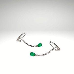 Earcuff de Diamantes com Esmeralda