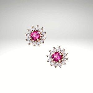 Brincos Princess com Turmalina Rosa e Diamantes