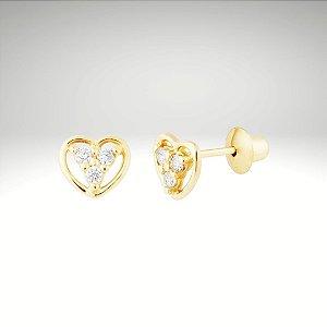 Brinco Coração com Diamantes