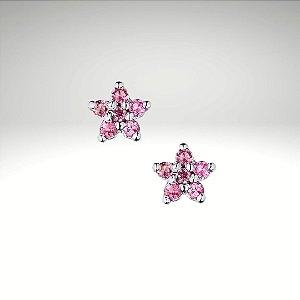 Brinco Flor II com Turmalinas Rosas
