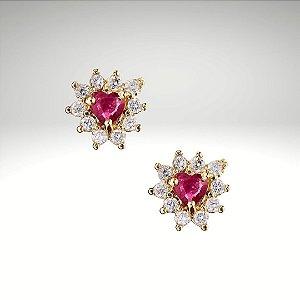 Brinco Coração com Rubis e Diamantes