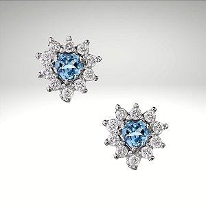 Brinco Coração de Topázio Swiss e Diamantes