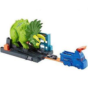 Pista E Veículo Hot Wheels Smashin Triceratops - Mattel