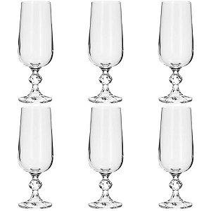 Jogo 6 Taças 180ml para Champagne de Cristal Ecológico Transparente Rojemac Bohemia
