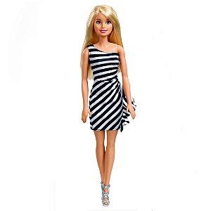 Boneca Barbie Básica Glitz Vestido Branco E Preto Mattel