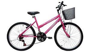 Bicicleta Cairu 24m MTB 21m Bella Rosa Pink