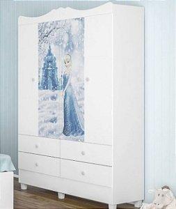 Roupeiro infantil New Branco Princesa Cristal - Tuboarte