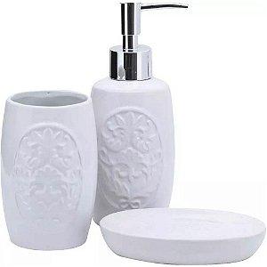 Jogo Banheiro 3 Peças Porcelana Barroco- Yangzi