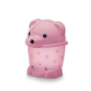 Lixeira cajovil urso 2,6 lts rosa bebê