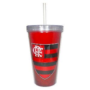 Copo Com Canudo Flamengo Parede Dupla Allmix