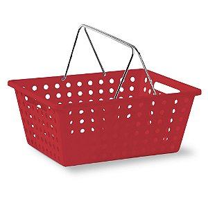 Cesta Organizadora Nº 3 Com Alça Cromada - Vermelha - Niquelplast