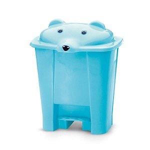 Lixeira cajovil urso com pedal azul turquesa