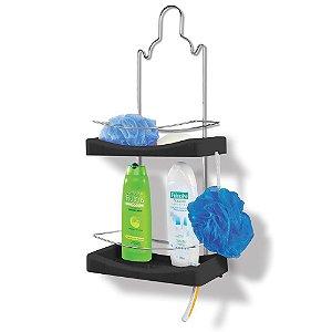 Porta Shampoo Duplo Multiuso Preto 3497 - Niquelplast