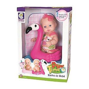 Boneca Flamingo Banho Do Bebe Cotiplas